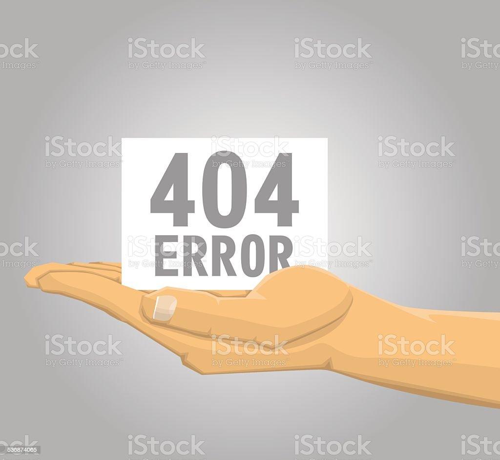 Main tenant un message d'erreur 404 stock vecteur libres de droits libre de droits