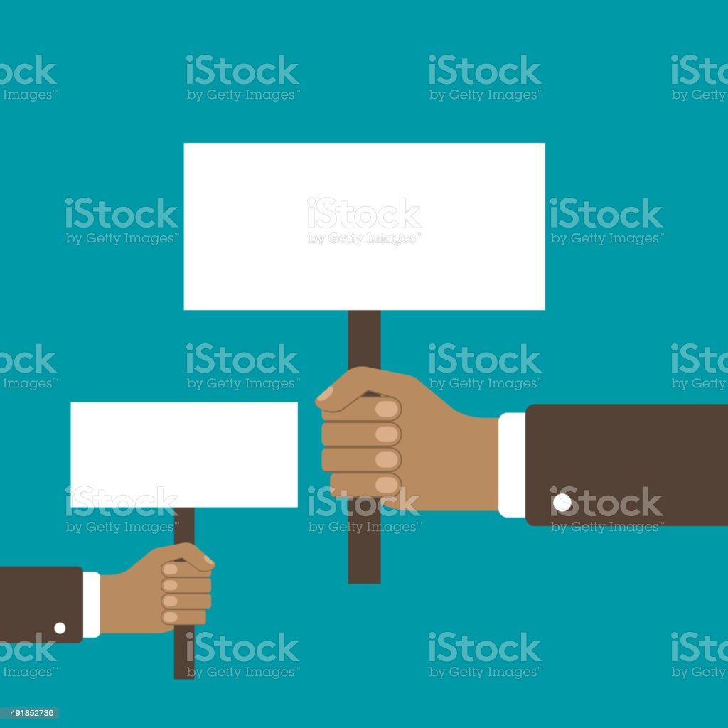 Hand holding a blank placard vector art illustration