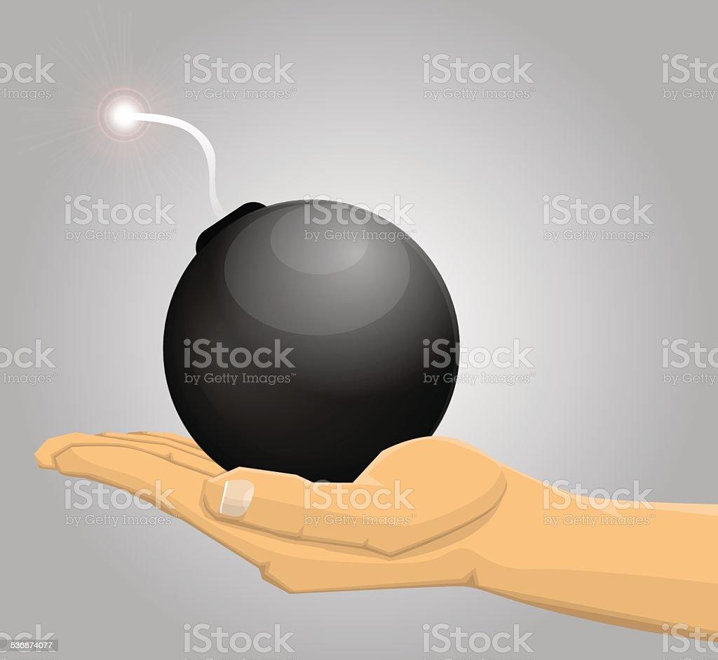 Main tenant une bombe stock vecteur libres de droits libre de droits