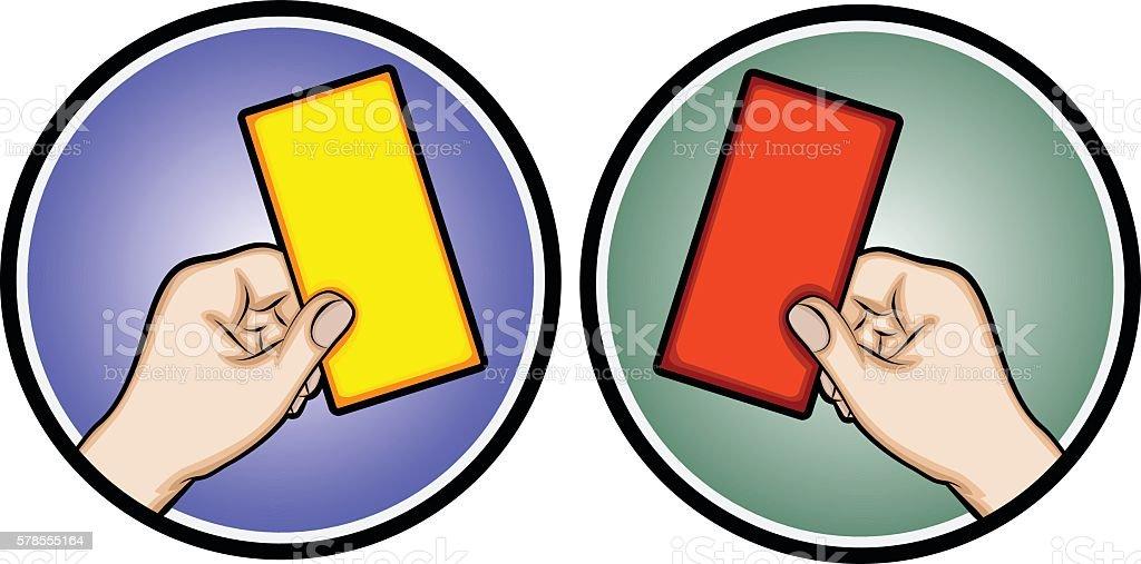Hand holding a card (football referee card) vector art illustration