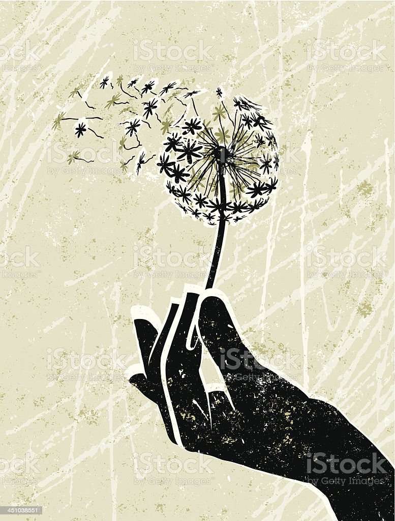 Hand Holding a Delicate Dandelion Clock royalty-free stock vector art