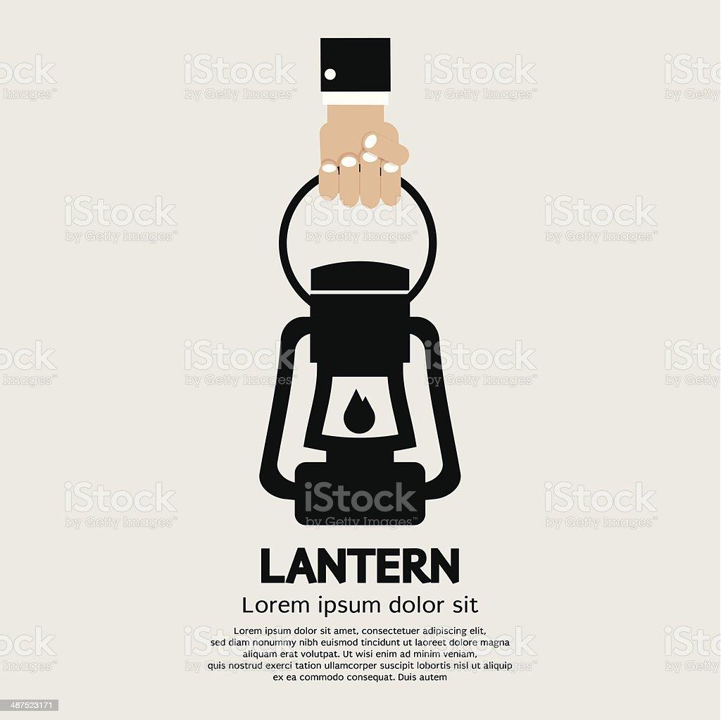 Hand Holding A Lantern vector art illustration