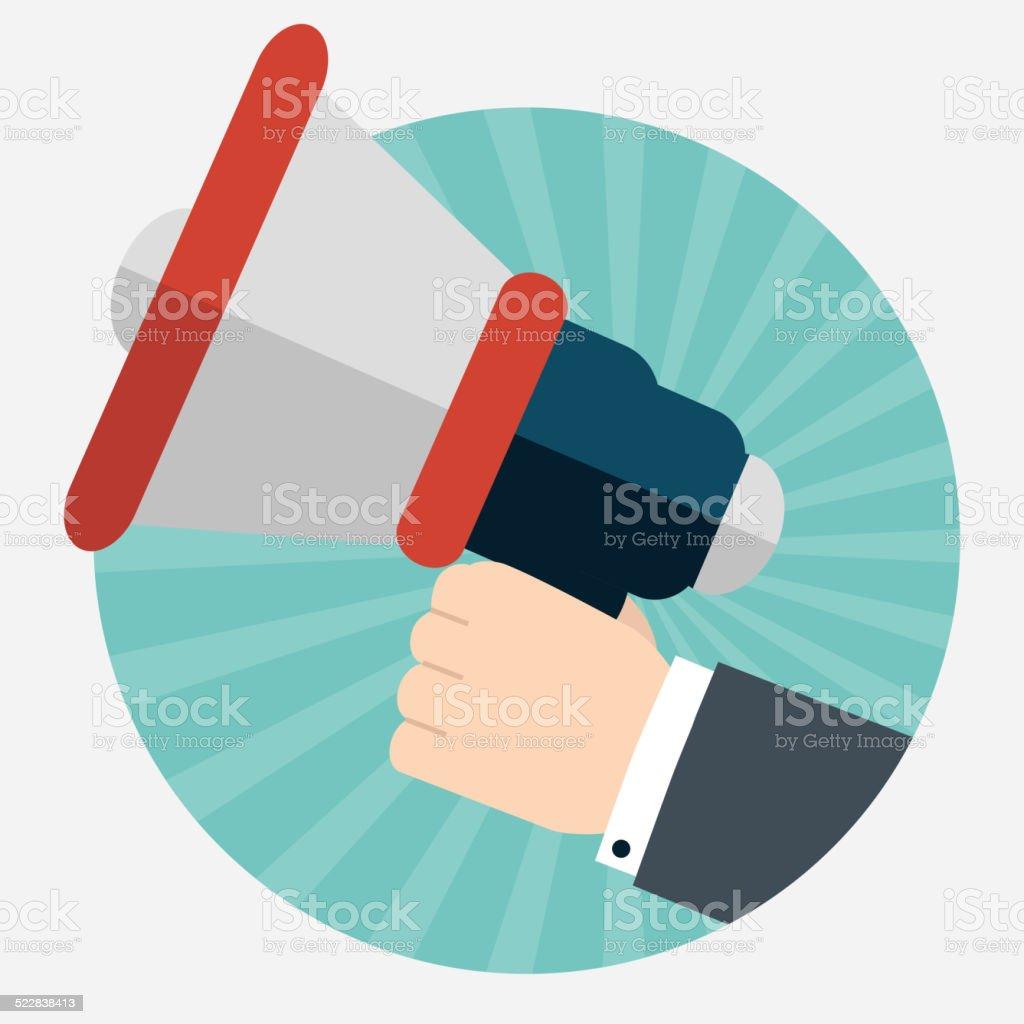 Hand holding a megaphone vector art illustration