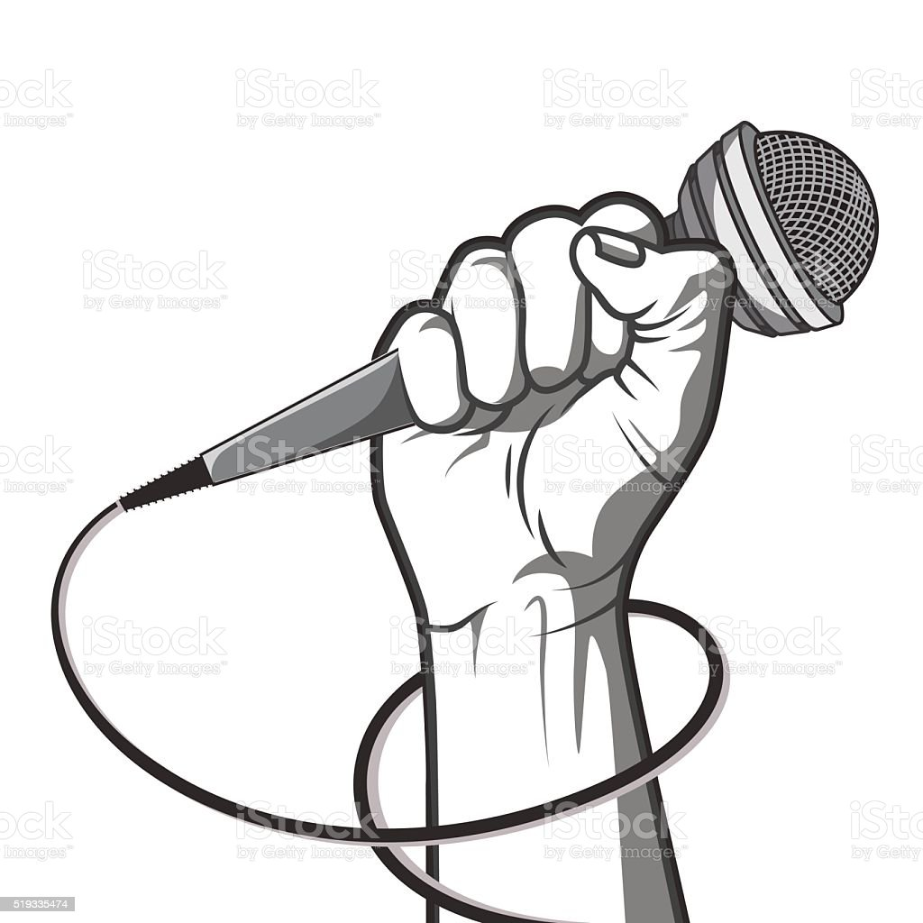 hand holding a microphone in a fist. vector art illustration