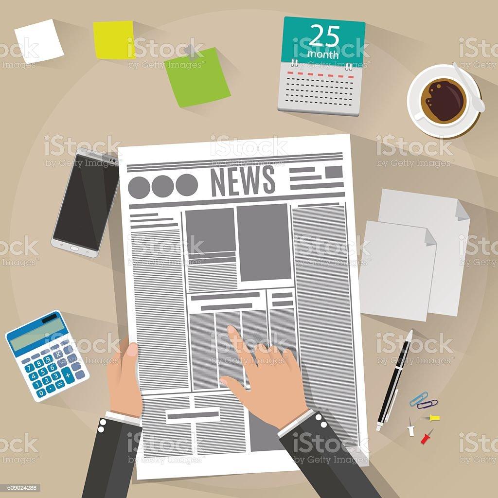 Hand holding a newspaper. vector art illustration