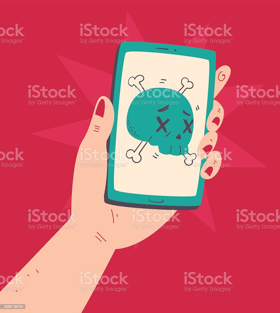 Hand Holding a Phone With a Skull vector art illustration