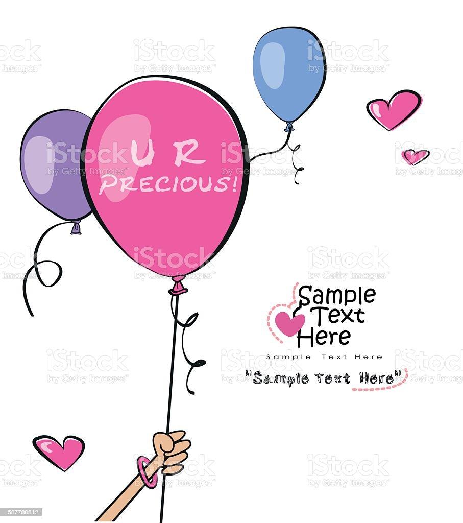 Hand holding a pink balloon vector art illustration