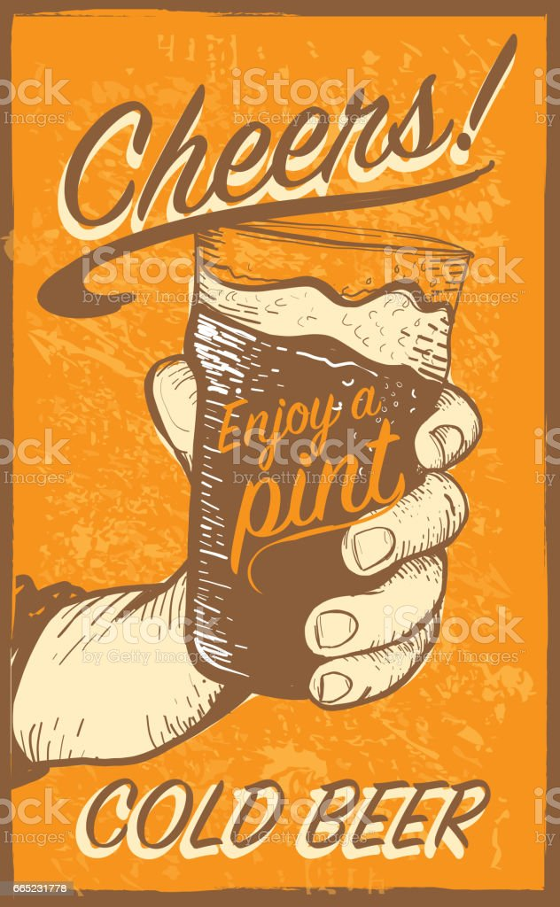 Hand holding a pint glass vector art illustration