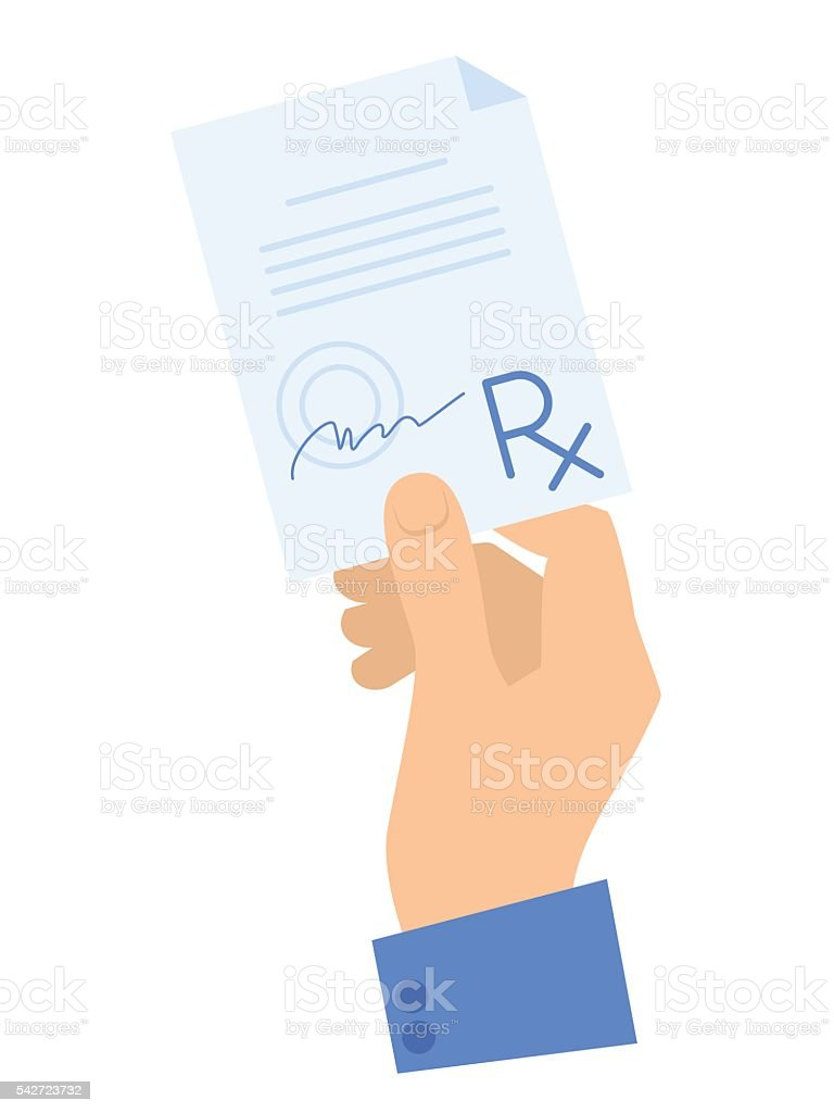 Hand holding a prescription. Medicine and healthcare flat concept illustration. vector art illustration