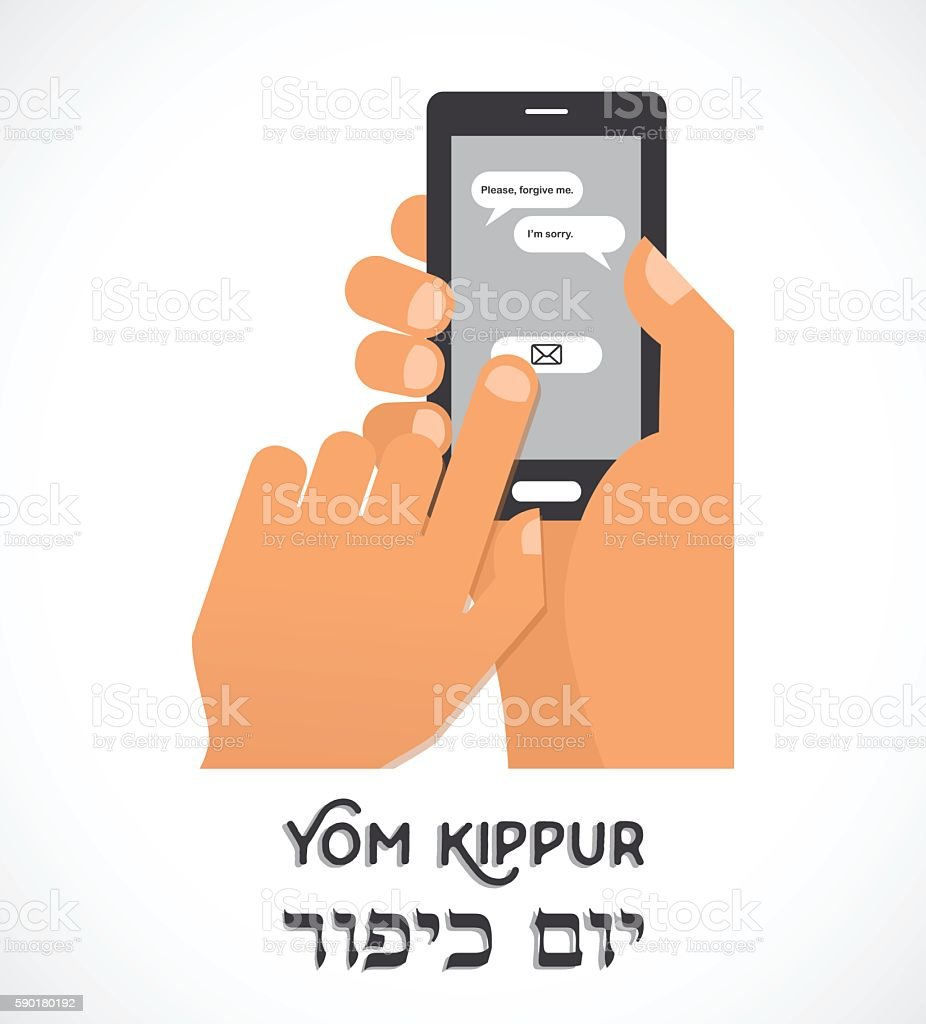 hand holding a smartphone and sending traditional message for Jewish vector art illustration