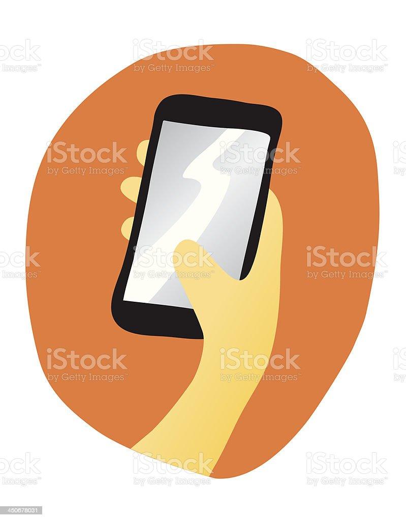 Hand holding a Smartphone vector art illustration