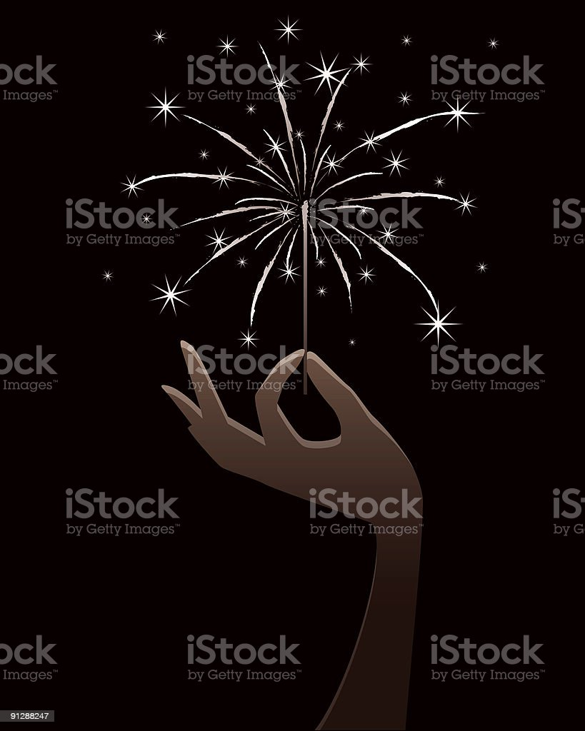 Hand Holding a Sparkler vector art illustration