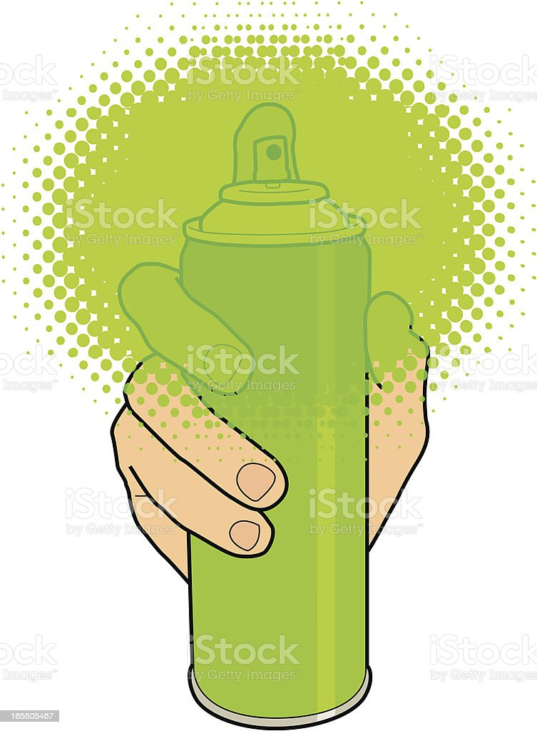 Hand holding a spray can royalty-free stock vector art
