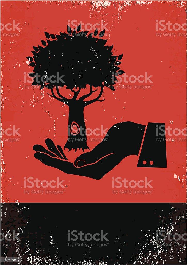Hand holding a tree vector art illustration