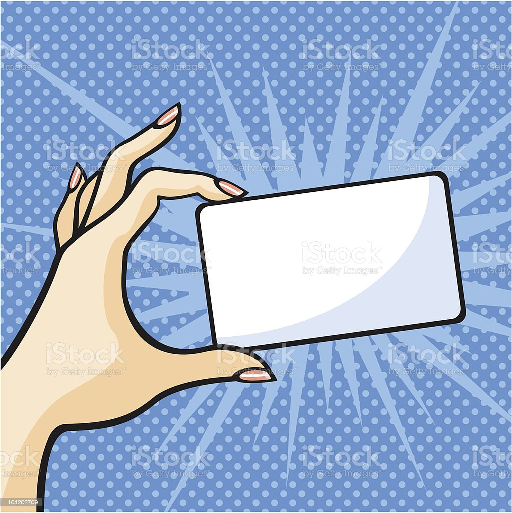 A hand holding a white card on a pop-art background royalty-free stock vector art