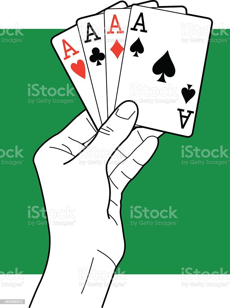 Hand Holding Aces Line Art vector art illustration