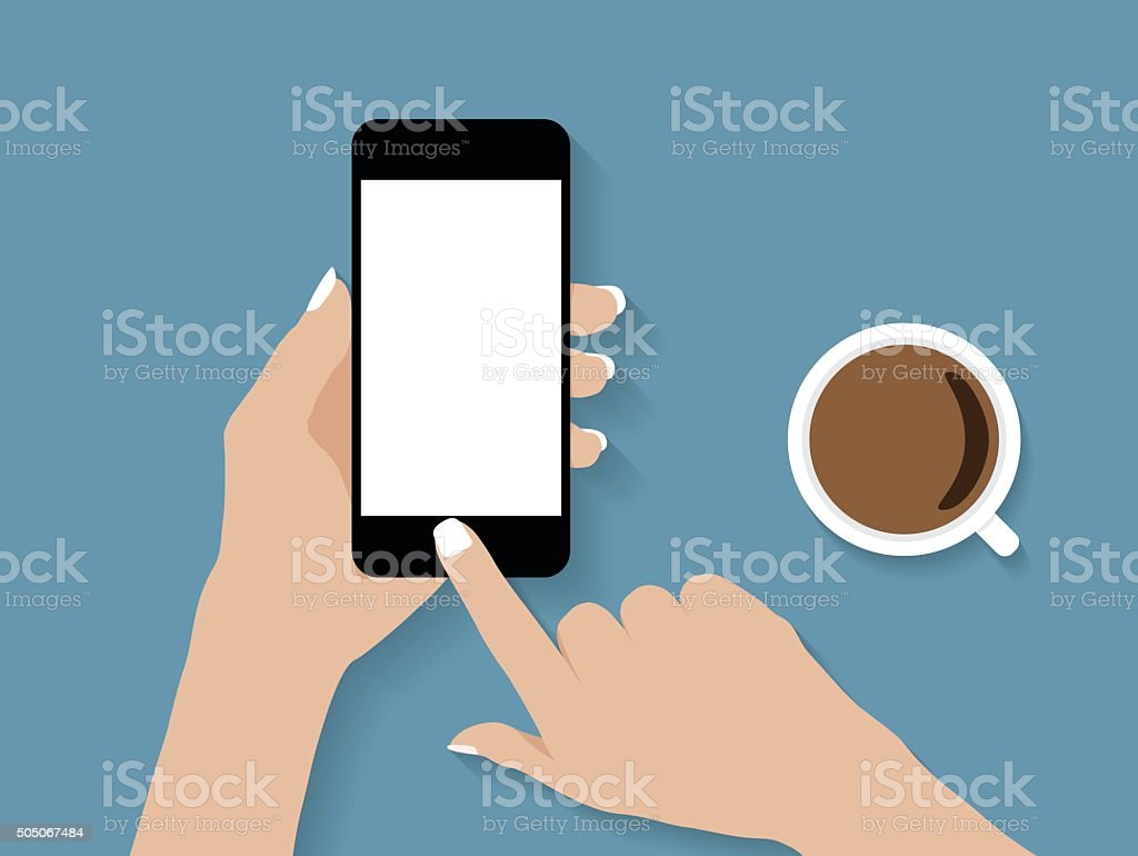 hand holding and touch phone vector design vector art illustration
