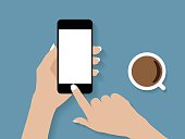 hand holding and touch phone vector design