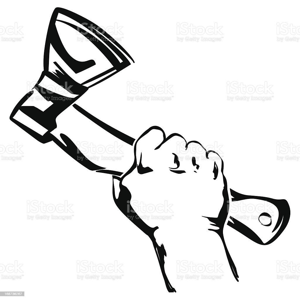 hand holding ax vector royalty-free stock vector art