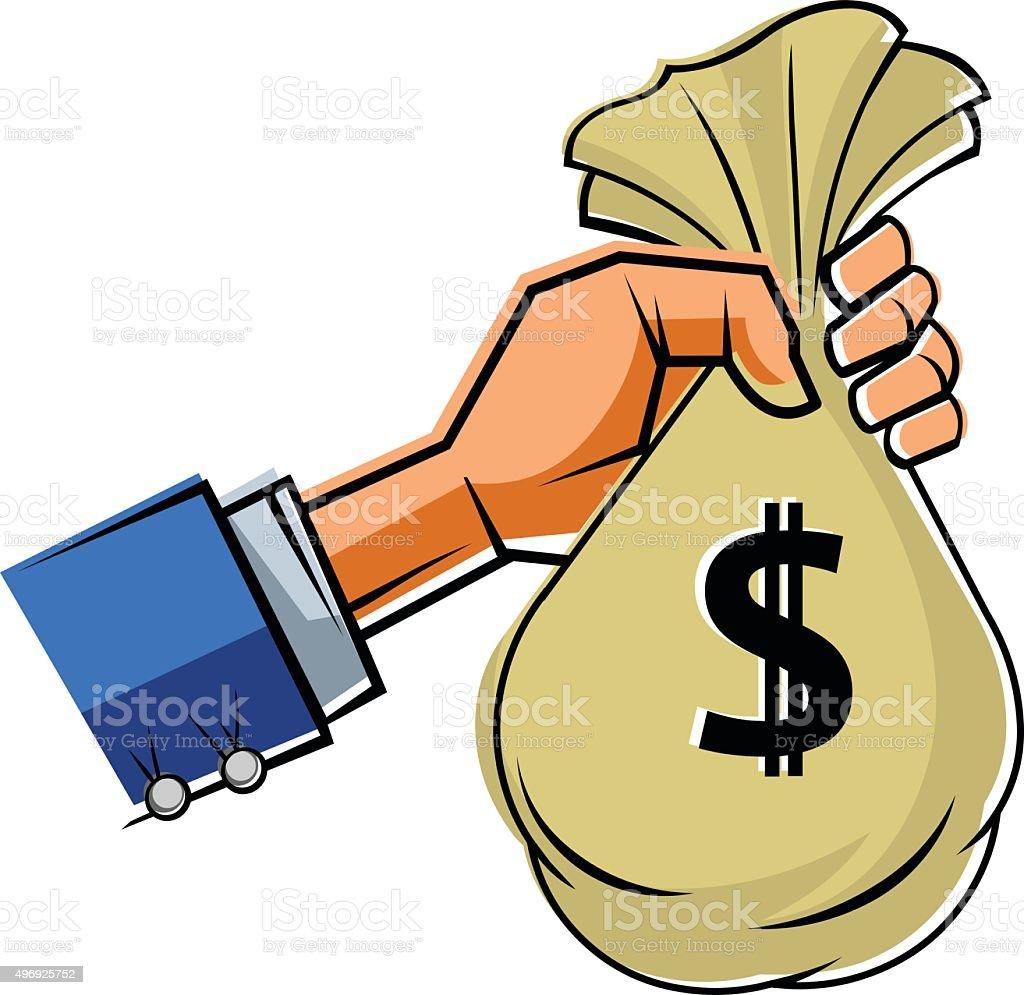 Hand holding bag of Money vector art illustration