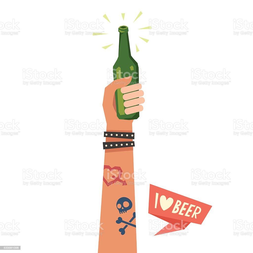 Hand holding beer bottle vector art illustration