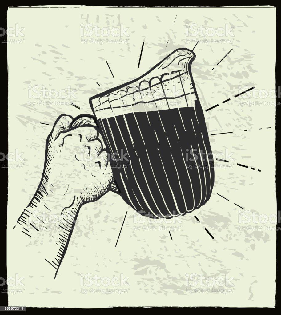 Hand holding beer pitcher vector art illustration
