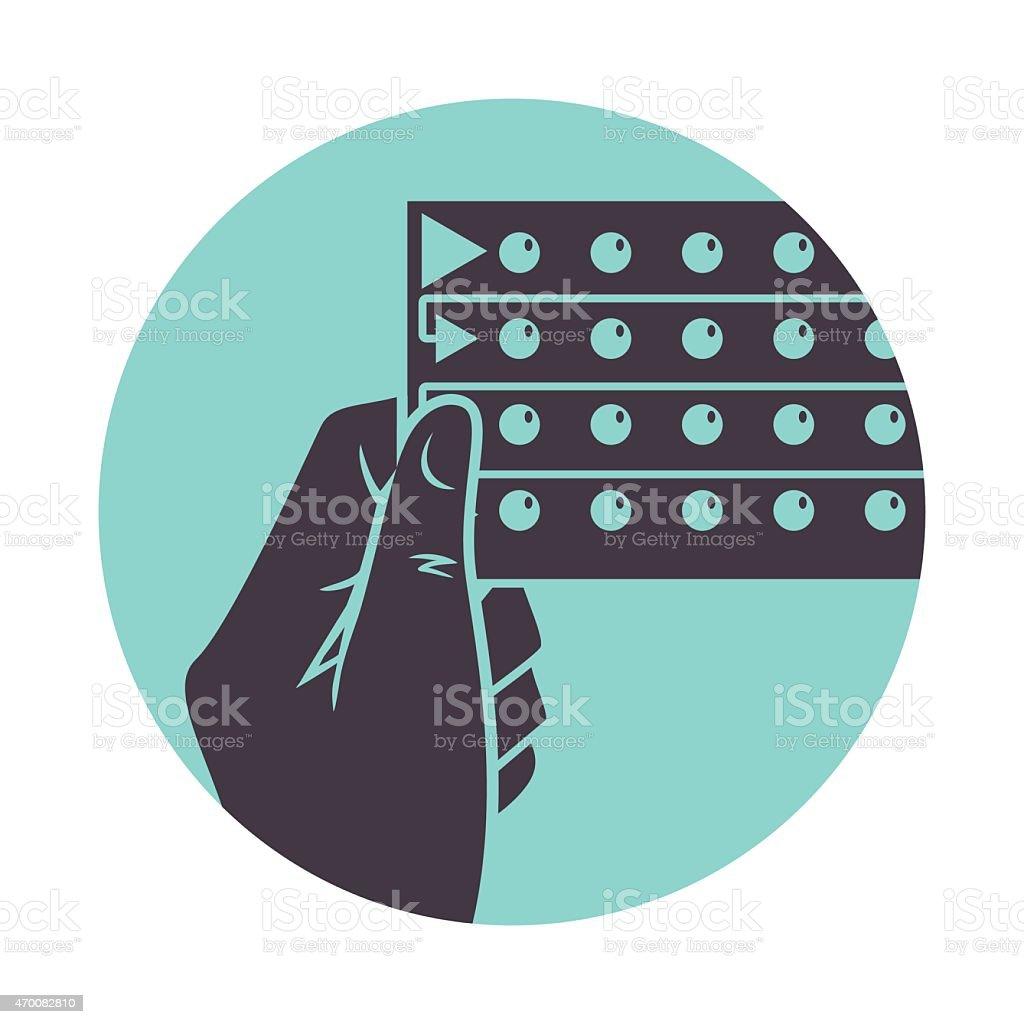 Hand holding birth control pills vector art illustration