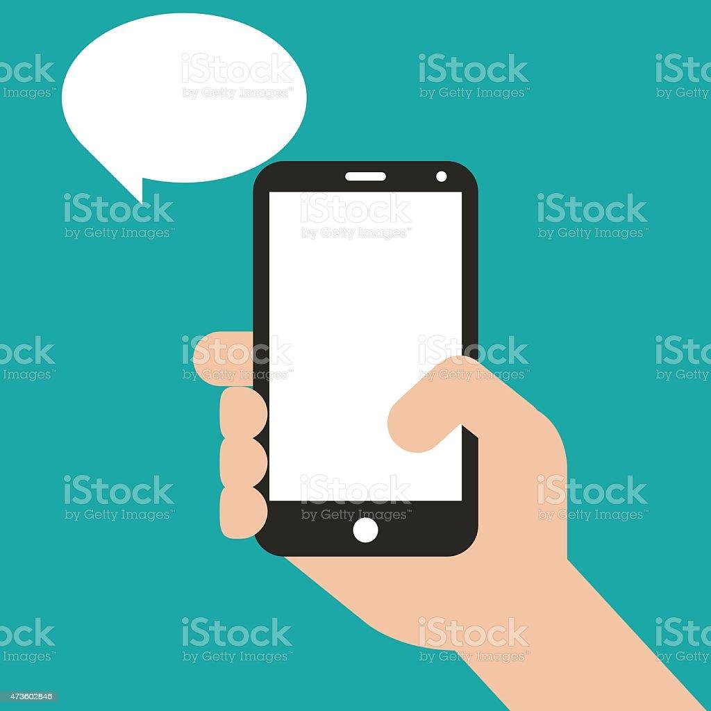 Hand holding black smartphone, touching blank screen vector art illustration