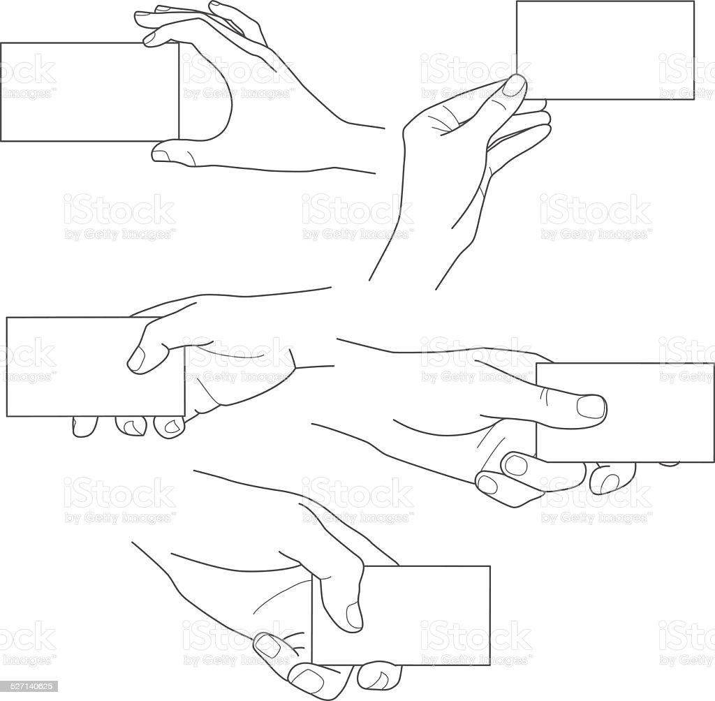 Mão segurando em branco cartão de negócios vetor definido vetor e ilustração royalty-free royalty-free