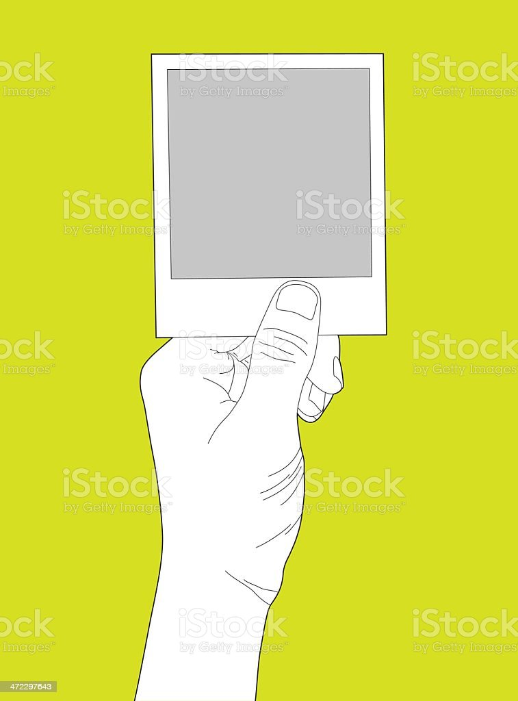 Hand Holding Blank Instant Photo vector art illustration
