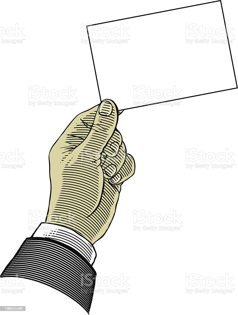Hand holding blank paper royalty-free stock vector art