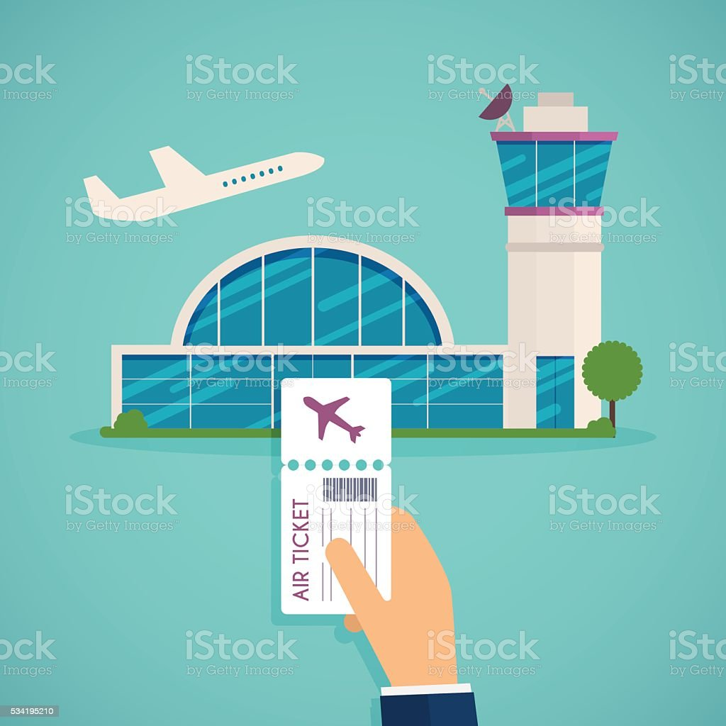 Hand holding boarding pass at airport. Traveling on airplane, pl vector art illustration