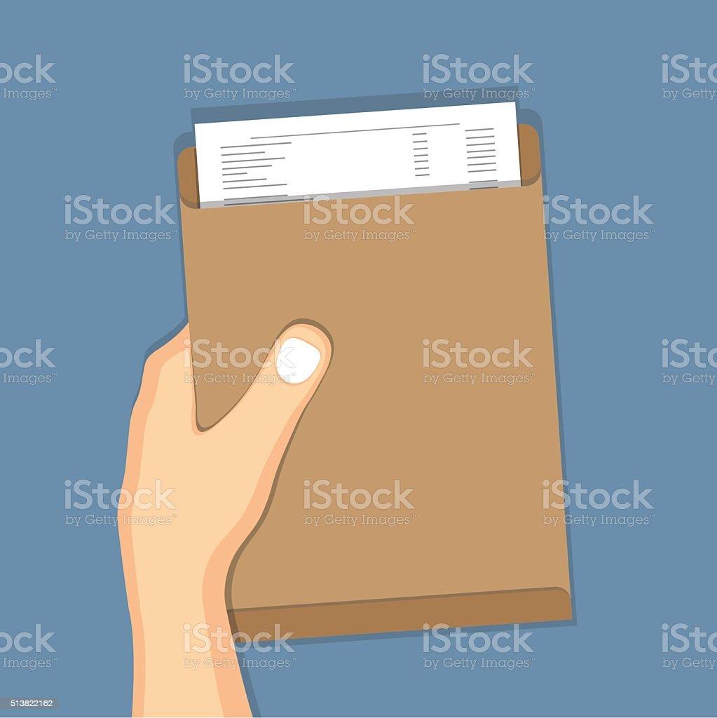 Hand holding brown envelope vector art illustration