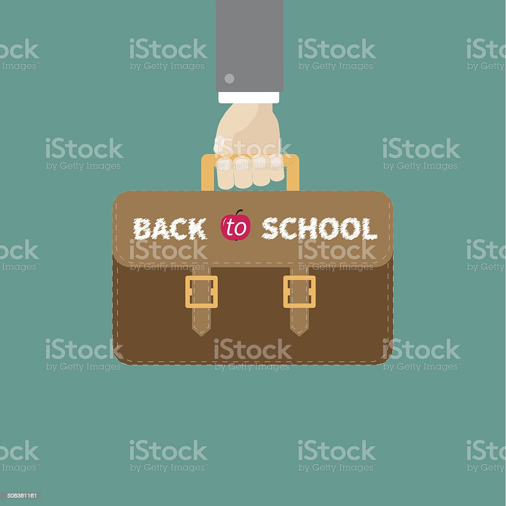 School bag diagram - Hand Holding Brown Schoolbag Briefcase Flat Design Style Royalty Free Stock Vector Art