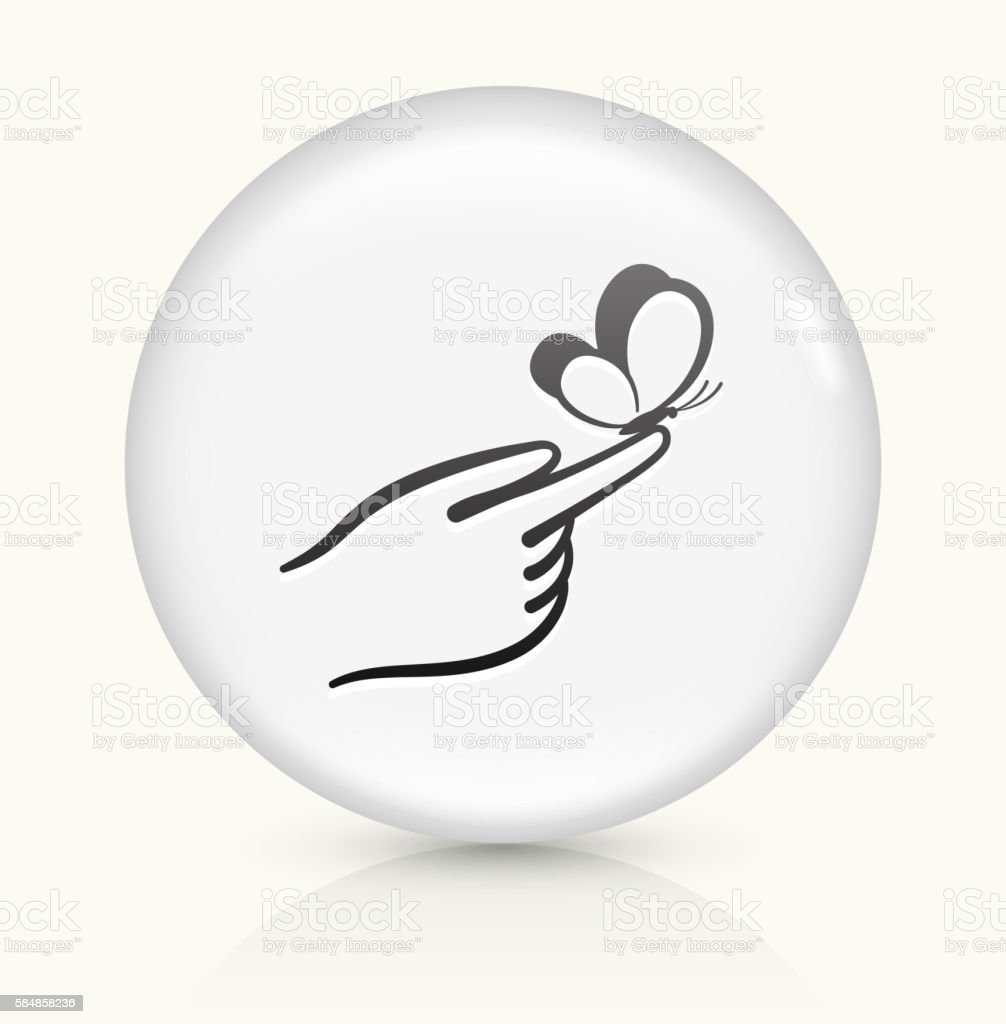Hand Holding Butterfly icon on white round vector button vector art illustration