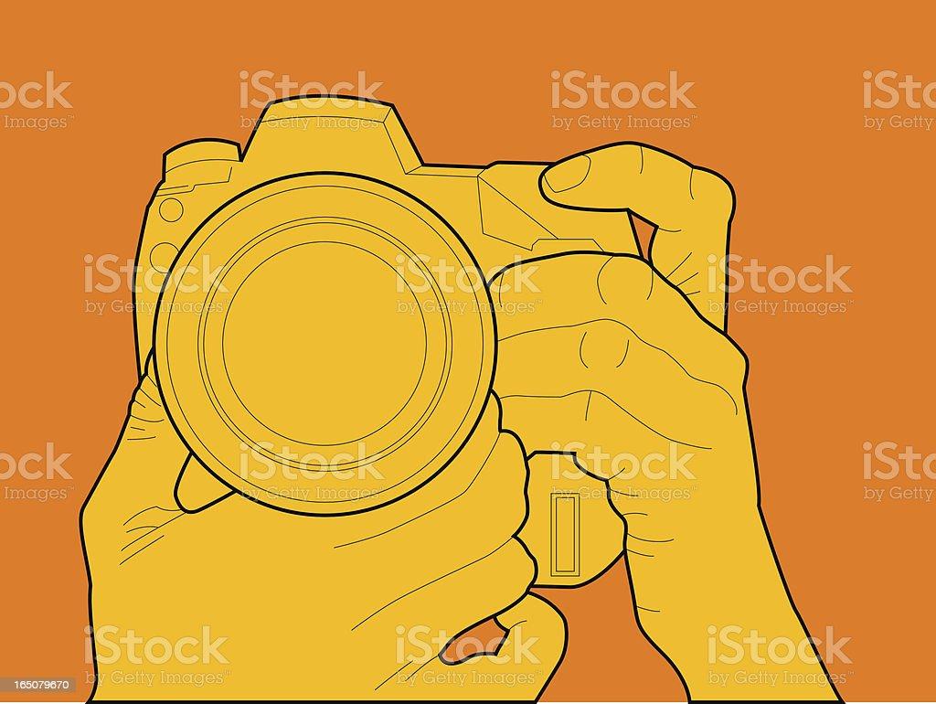 hand holding camera royalty-free stock vector art