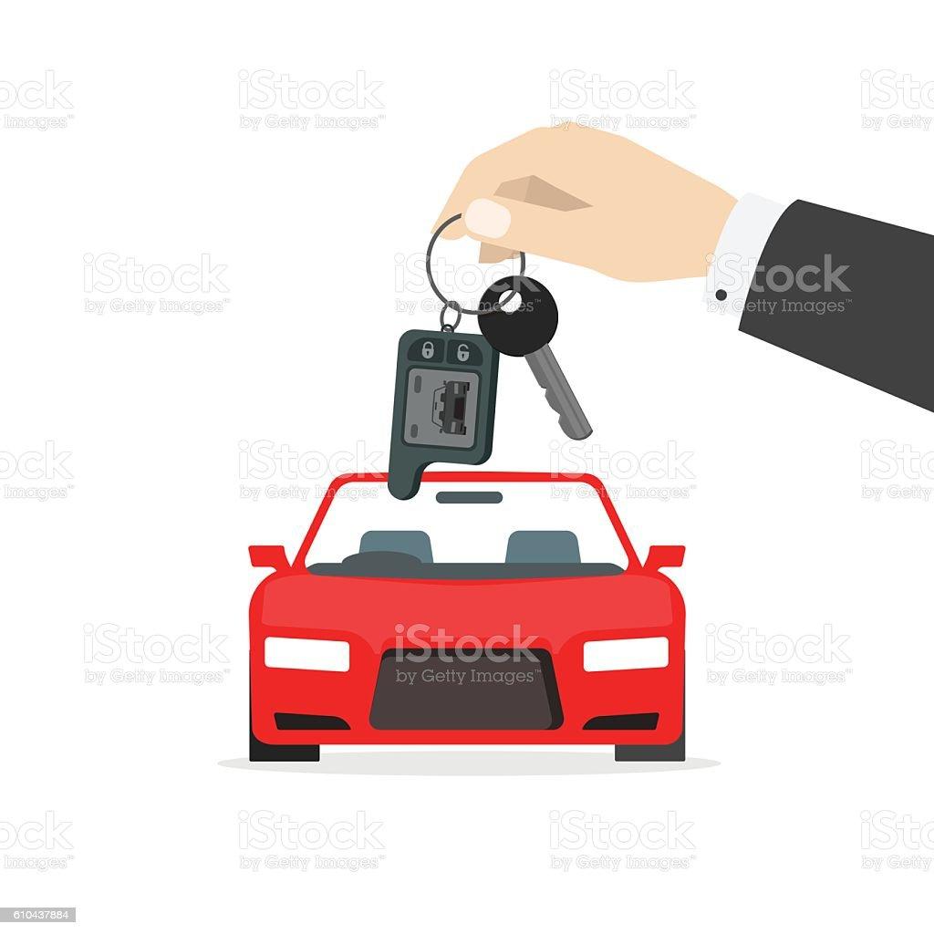 Hand holding car keys near auto vector isolated, gift concept vector art illustration