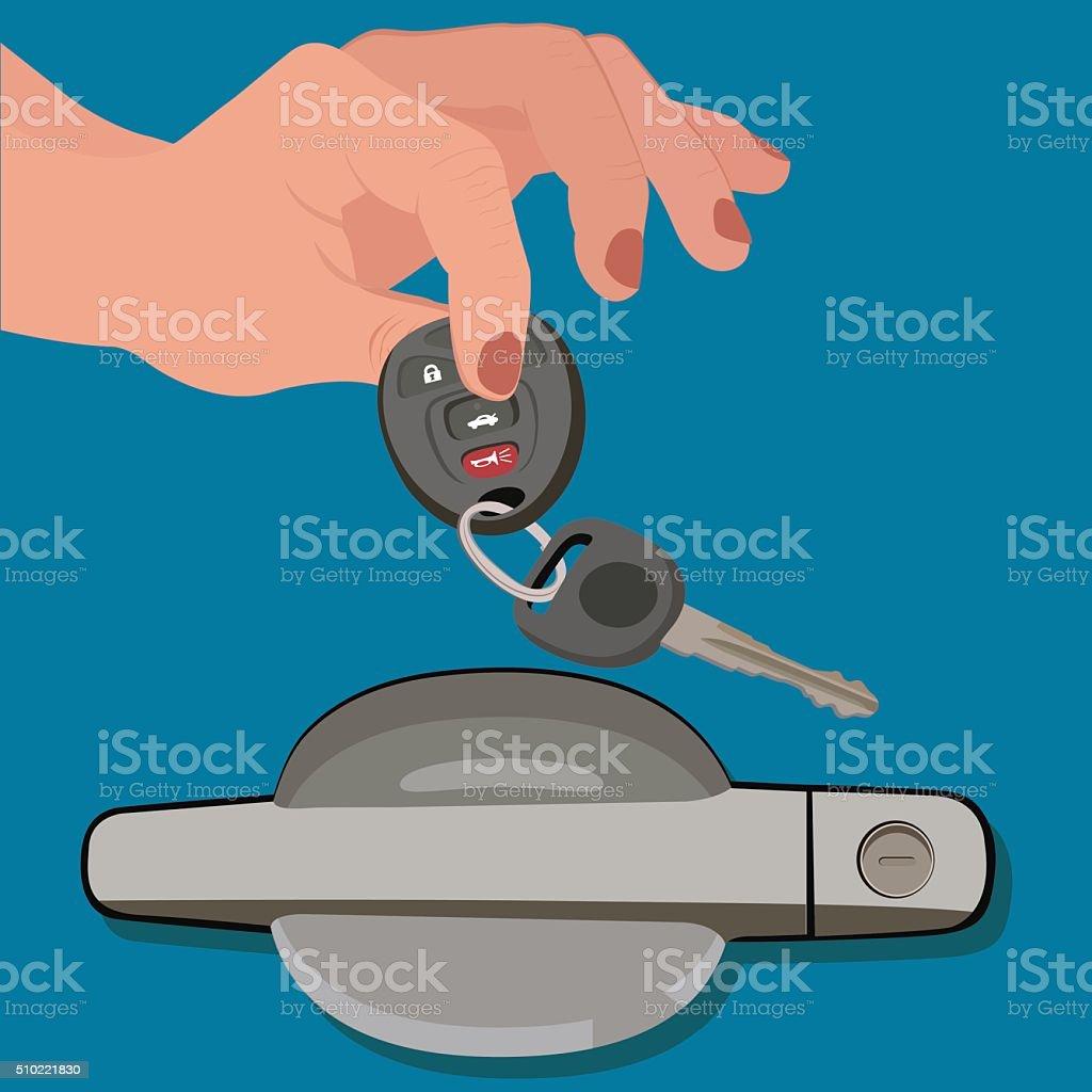 hand holding car keys near door, vector illustration vector art illustration