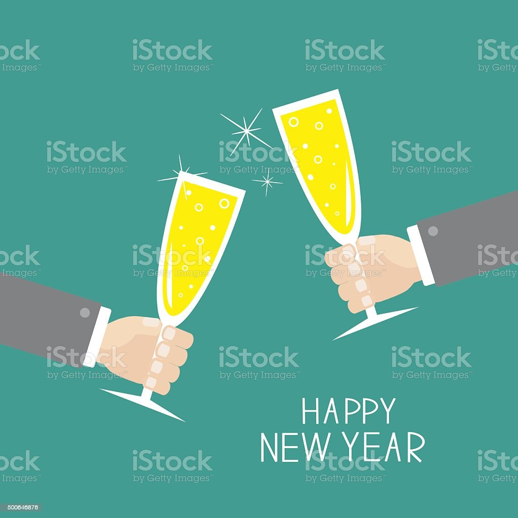 Hand holding champagne glasses. Greeting Card. Happy New Year. Flat vector art illustration