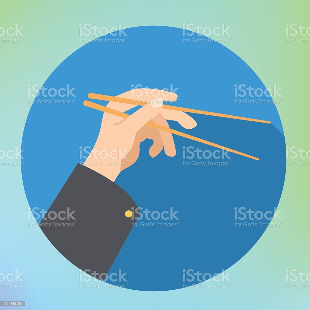 hand holding chopsticks flat vector vector art illustration