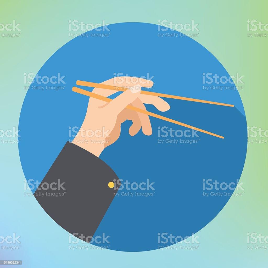 hand holding chopsticks flat vector vector art illustration