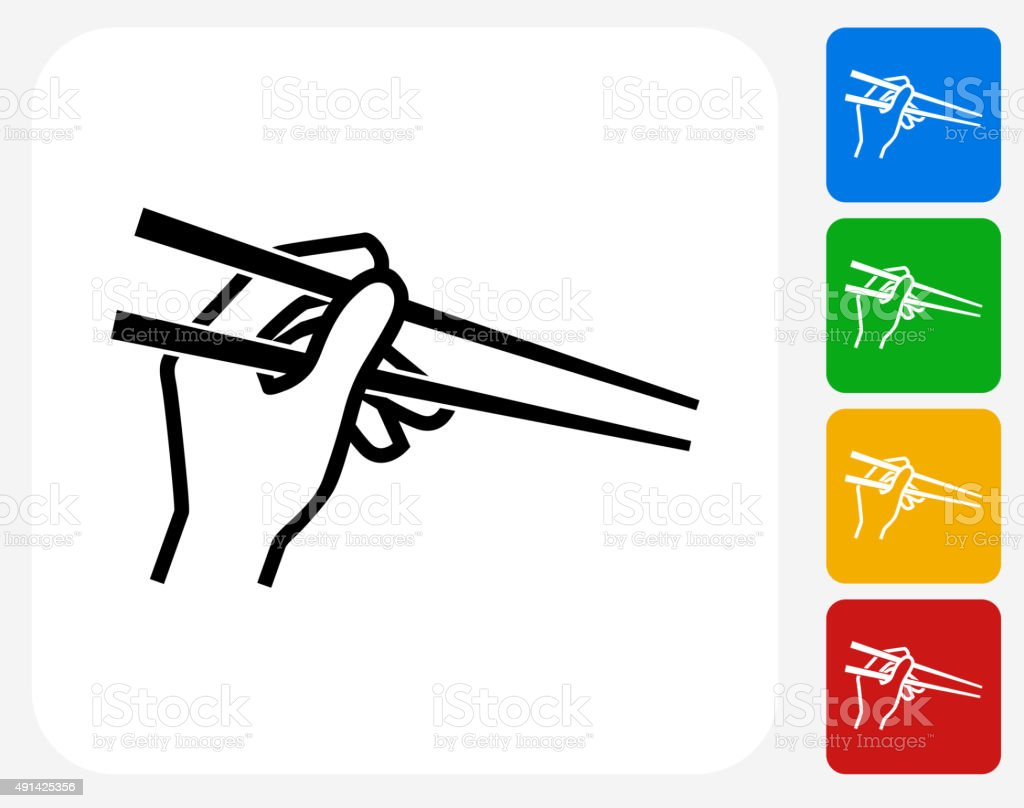 Hand Holding Chopsticks Icon Flat Graphic Design vector art illustration