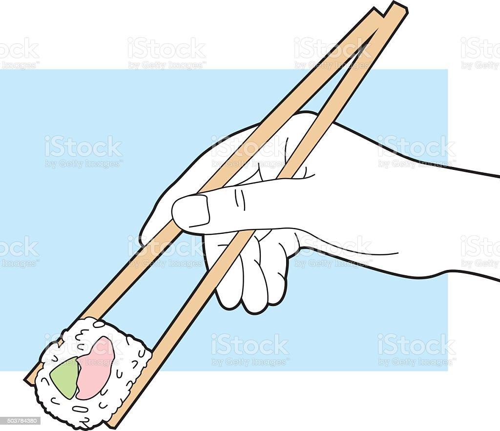Hand Holding Chopsticks with Sushi Line Art vector art illustration