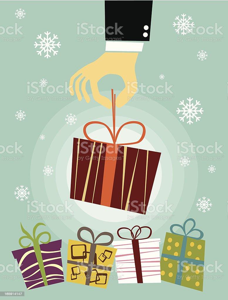 Hand holding Christmas gift box royalty-free stock vector art