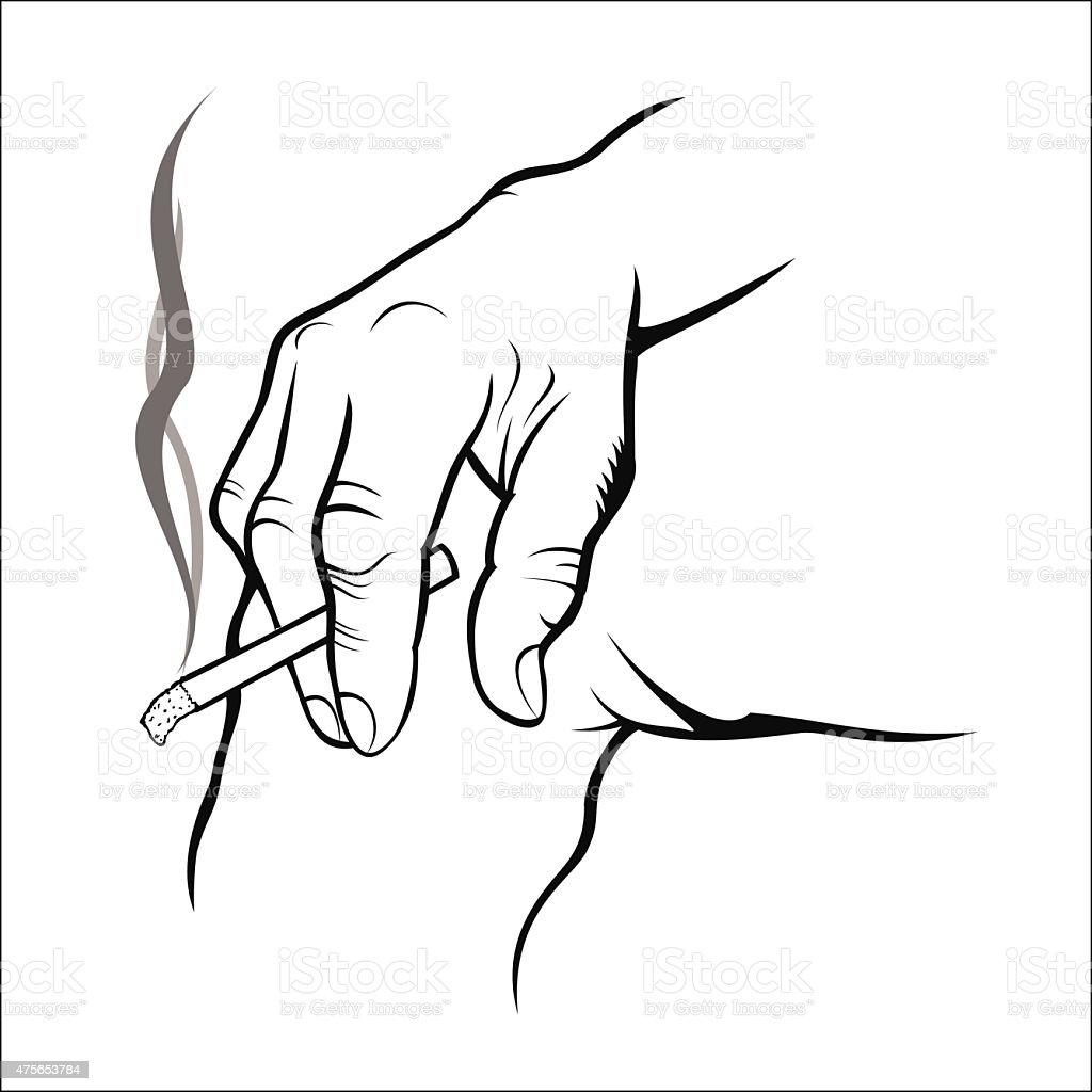 Hand holding cigarette royalty-free stock vector art