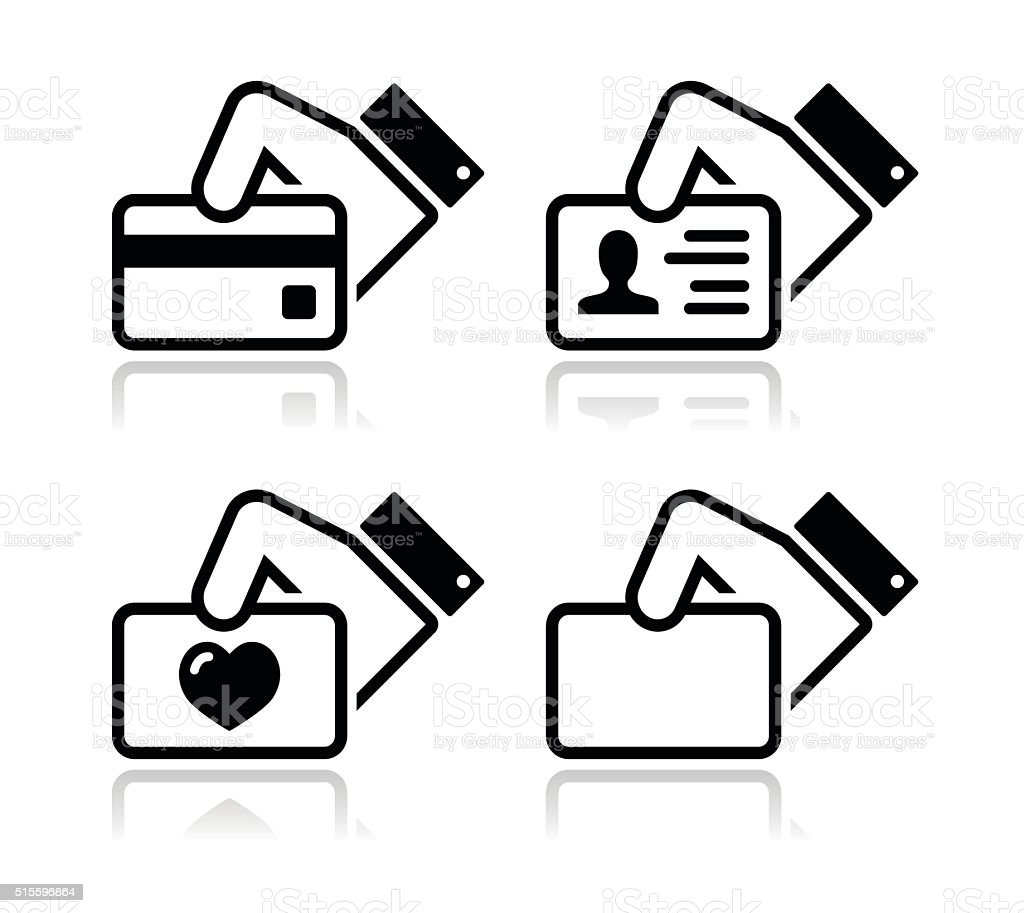 Hand holding credit card, business card, ID icons set vector art illustration