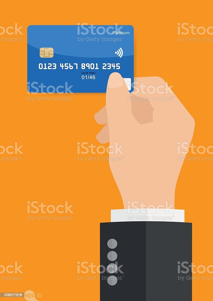 Hand holding credit card vector art illustration