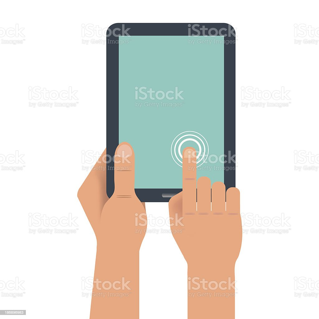Hand holding digital tablet royalty-free stock vector art