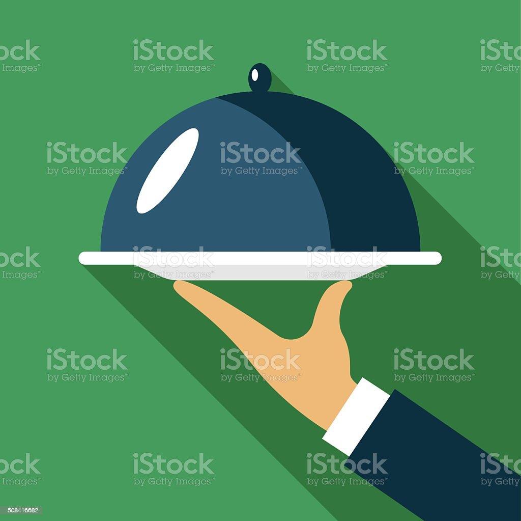 Hand holding dish vector art illustration