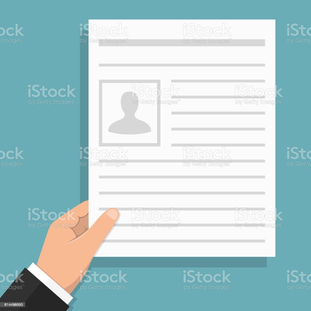 Hand Holding Document vector art illustration